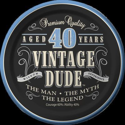 Creative Converting Vintage Dude 40th Birthday Dessert Plates (Set of 8)