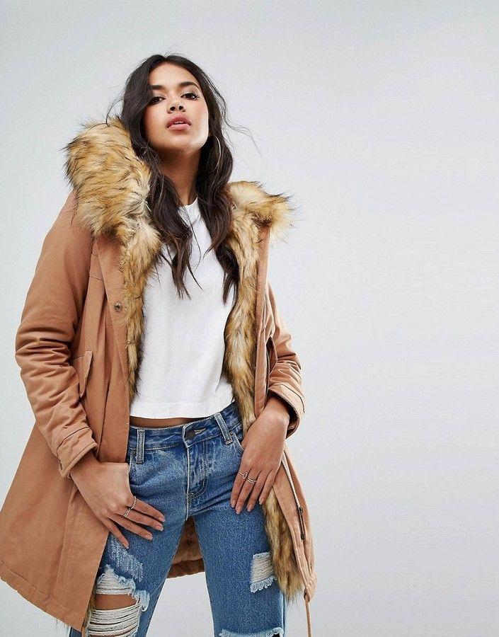 Faux Fur Lining Parka Coat, mr & mrs italy dupe, fur parka, hooded fur parka