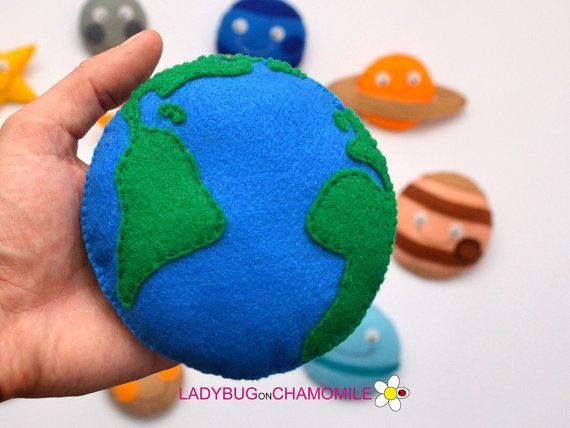 SPACE for kids SOLAR SYSTEM felt fridge от LadybugOnChamomile