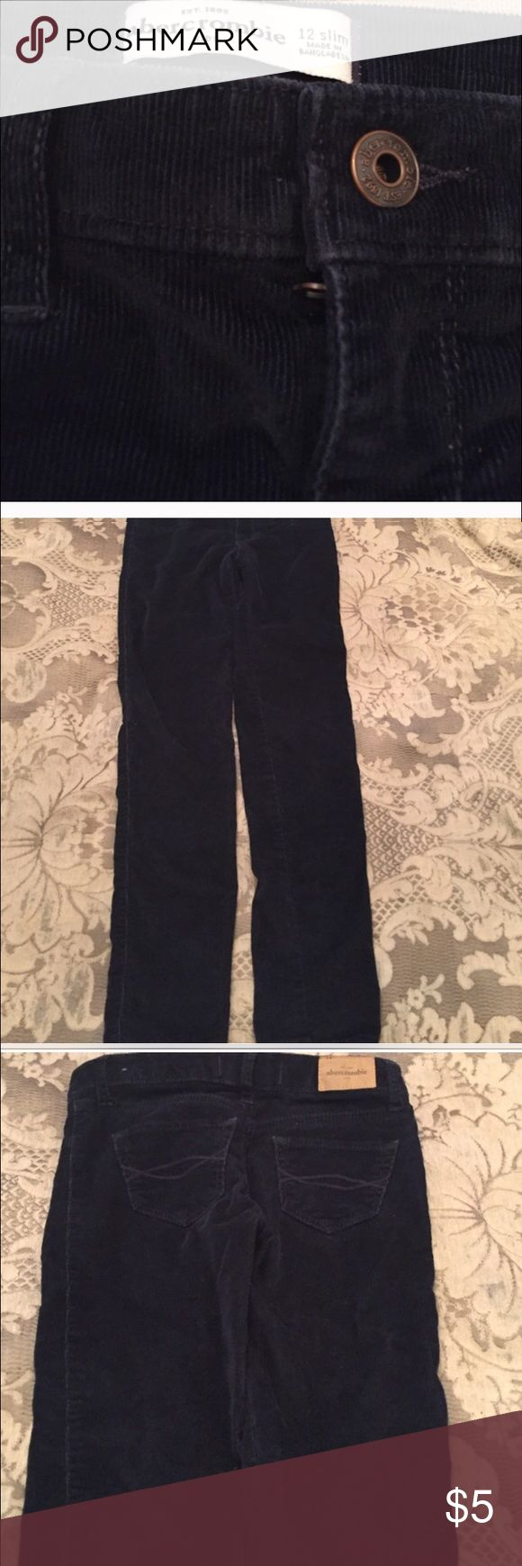 Abercrombie girls blue corduroys Blue cords Abercrombie slim fit size 12 skinny fit and skinny bottoms . 2 fake pockets in the front real pockets in the back abercrombie kids Bottoms Casual