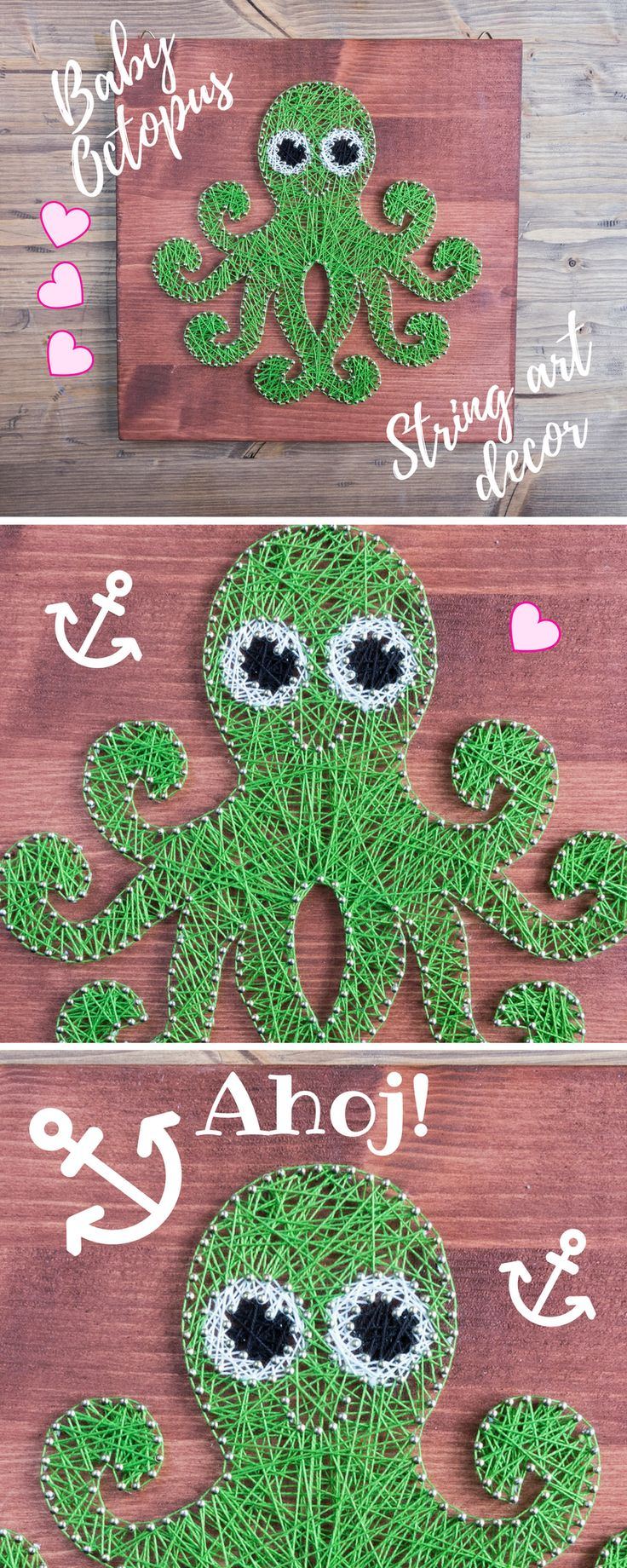 Octopus string art wall decor for kids room or nursery. Perfect, gender neutral decoration for your little one. Goes great as a standalone piece or in maritime themed room.  This very bright Octopus fella is just the thing to make any room look more interesting and homey. He's really handy by nature but ladies love him and also he is 100% handmade :) He will be a perfect match to your kids room or nursery and actually decoration will fit any room where you want to add a bit more fun…