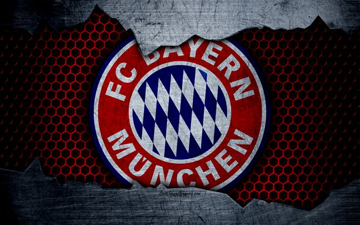 Download wallpapers Bayern Munich, 4k, logo, metal background, soccer, Bundesliga, BVB, FC Bayern Munich, football