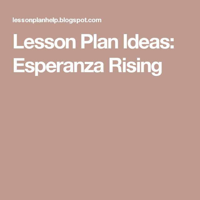 Lesson Plan Ideas: Esperanza Rising