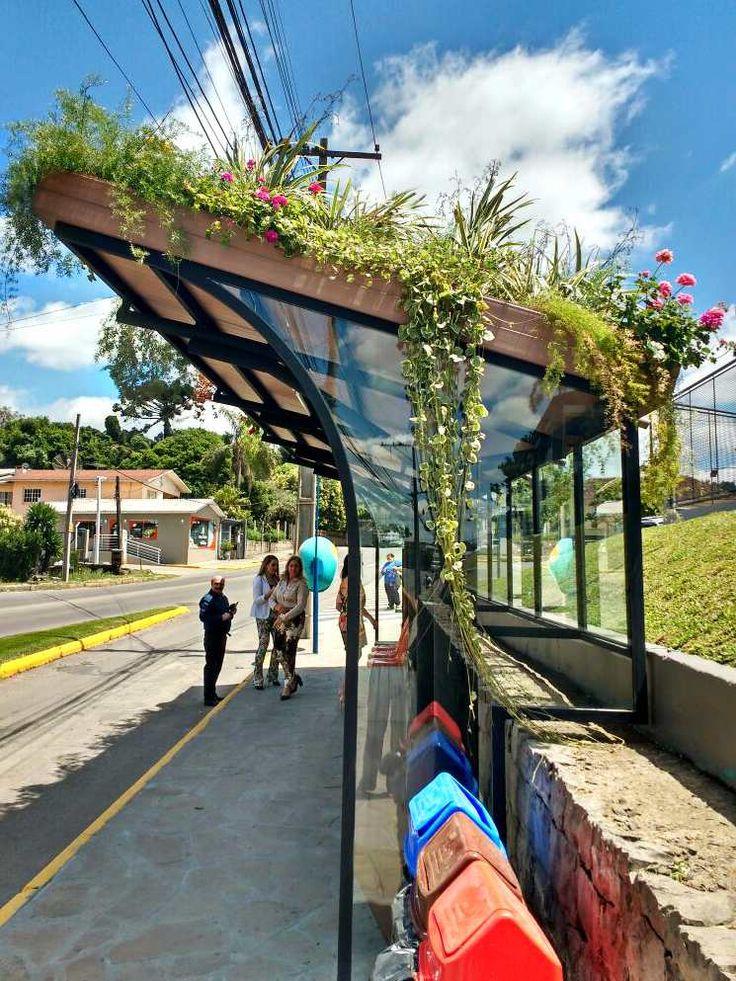 Ponto de ônibus com teto verde que produz energia solar é instalado em Caxias do Sul