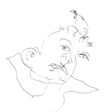 Develop Hand Coordination by Practicing Blind Drawing: Blind Contour Drawing Example - Face