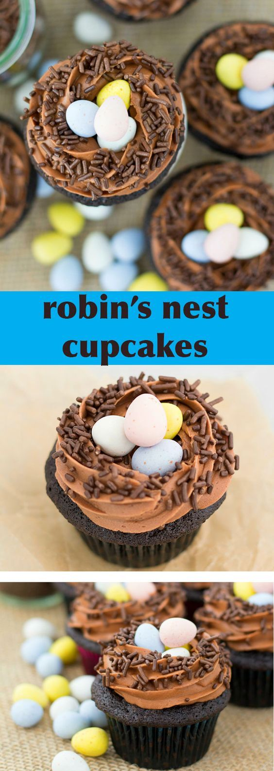 These Robins' Nest Cupcakes are made with moist, rich chocolate cupcakes, topped with a fluffy chocolate frosting, brown jimmies and chocolate robins' eggs.