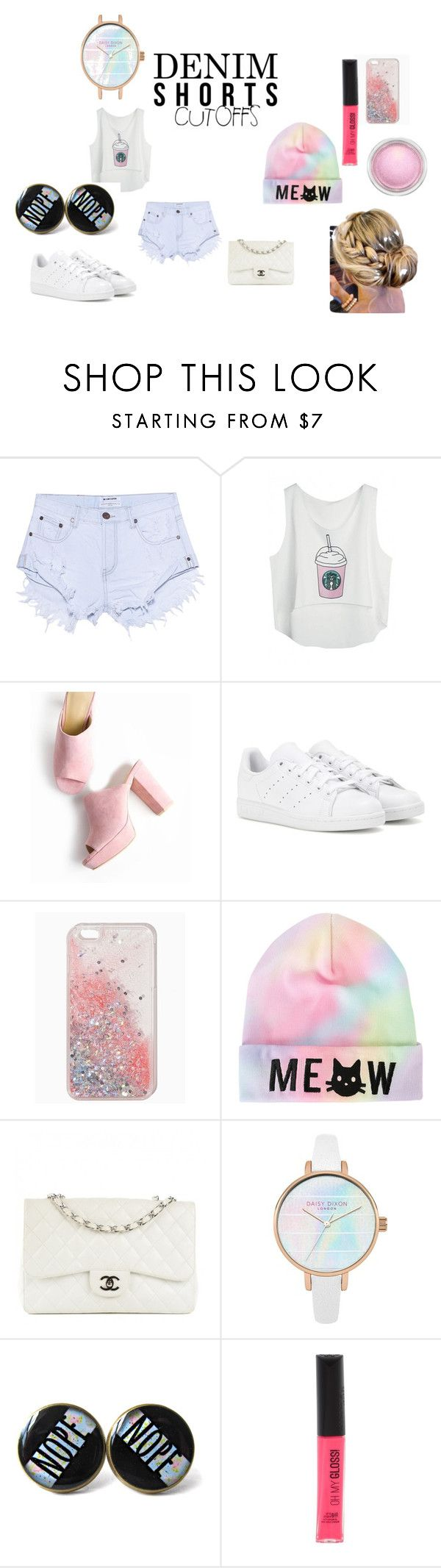 """""""#pastel kawii :3"""" by kawiicreations ❤ liked on Polyvore featuring OneTeaspoon, adidas, Chanel, Rimmel, MAC Cosmetics, jeanshorts, denimshorts and cutoffs"""