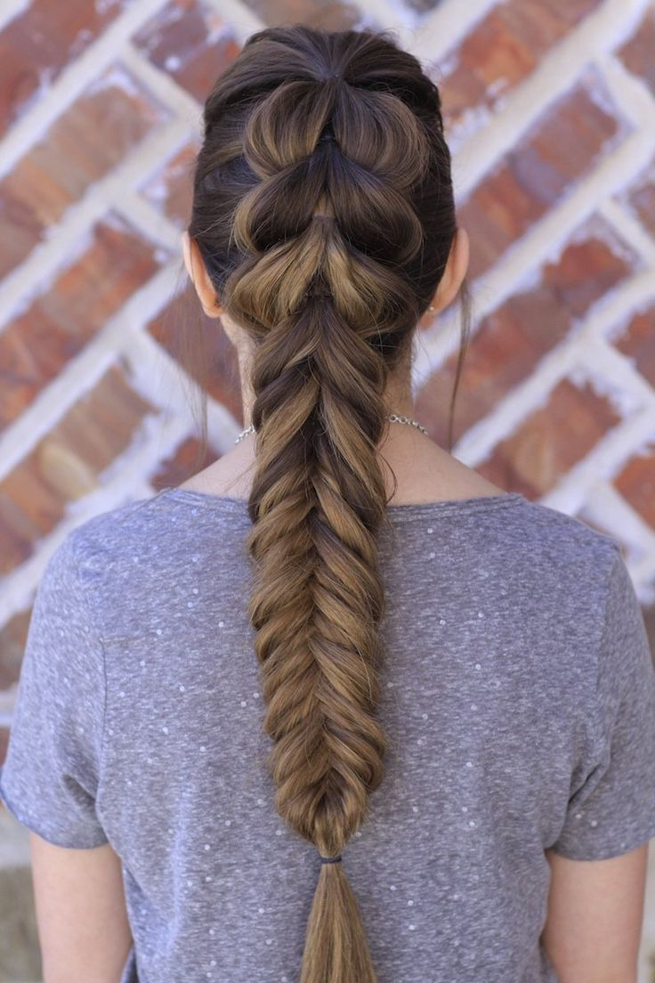 Pull-Through Fishtail Braid Combo and more Hairstyles from CuteGirlsHairstyles.com