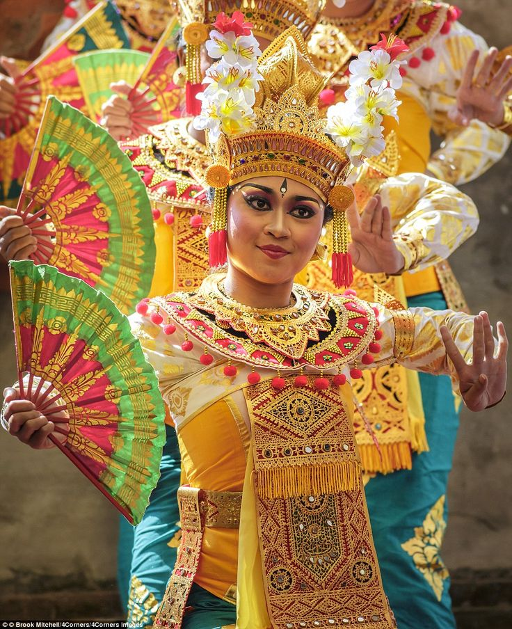 Vibrant colours and enduring tradition inspired Macdonald during his travels. Pictured Legong Dancers at the Bali Arts Festival