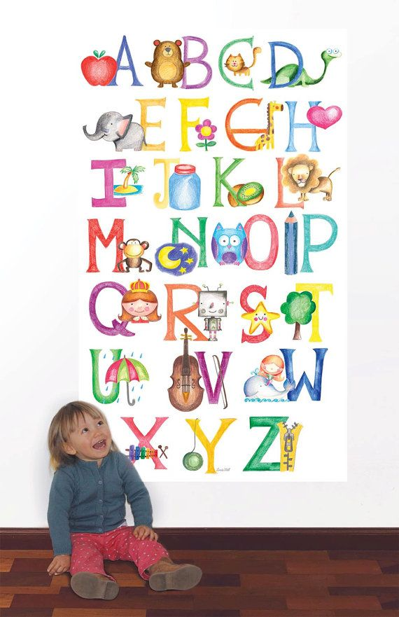 Alphabet Wall Decal ABC Wall Sticker by LindaWallStickers on Etsy