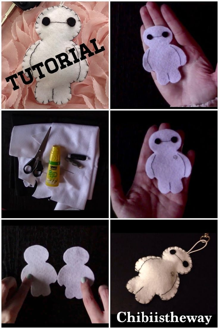 Baymax (Big Hero Six) plush keychain tutorial! Easy to follow.