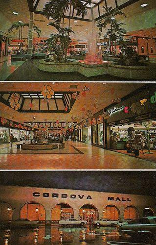 Cordova Mall Interior and exterior of the original architecture of the Cordova Mall, early 1970s.