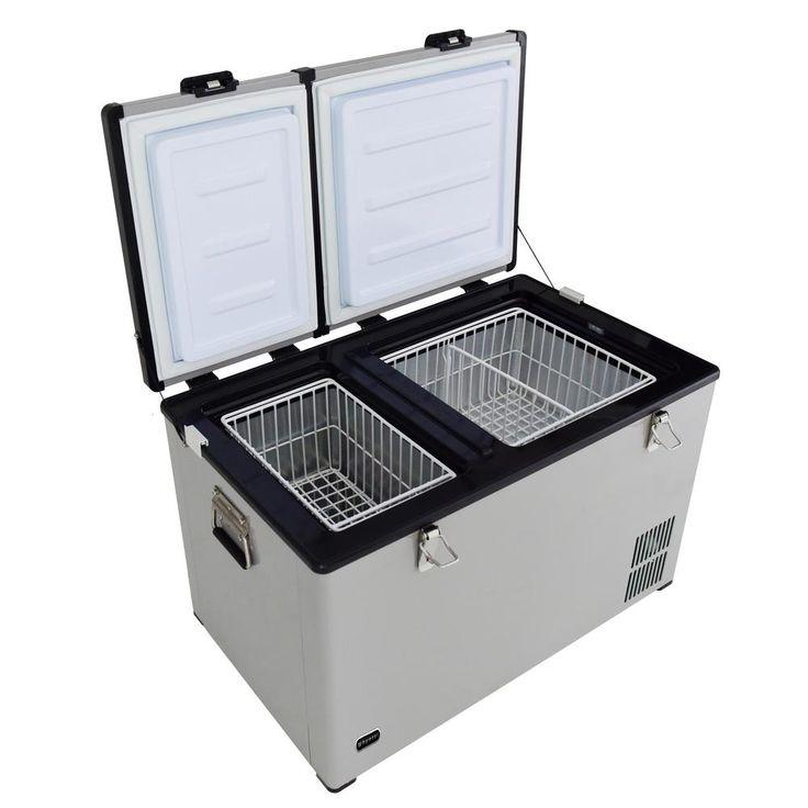 Whynter 90 Quart Dual Zone Portable Fridge/Freezer with 12V Option and Wheels-FM-901DZ - The Home Depot