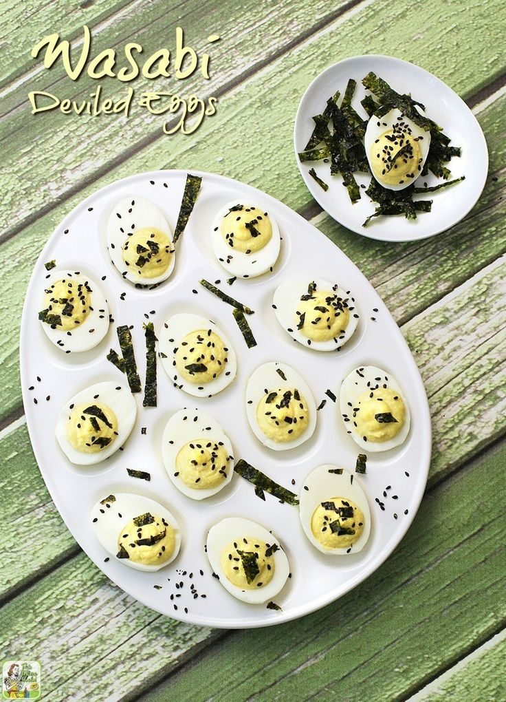 Easy to make Wasabi Deviled Eggs. A spicy and gluten free deviled egg recipe that's ideal for Easter hard boiled eggs or for your next party! Click to get this spicy wasabi deviled eggs recipe.