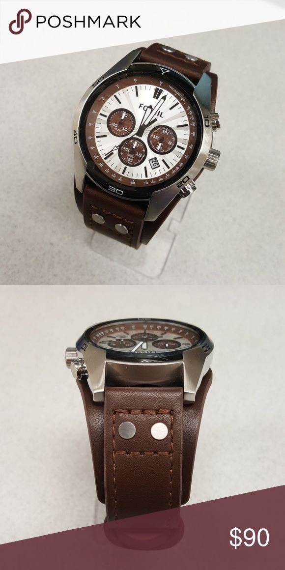 Fossil CH-2565 Large dial with chronographs and one piece brown leather band Fossil Accessories Watches