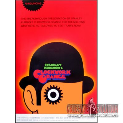 Official movie poster from the Cult Classic A Clockwork Orange. Poster features classic figure head with bowler hat and logo, with all orange background. Poster is brand new and measures 24x36 inches.