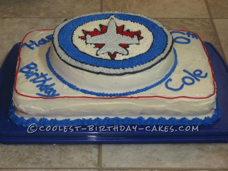 Jets Hockey Birthday Cake... This website is the Pinterest of birthday cake ideas