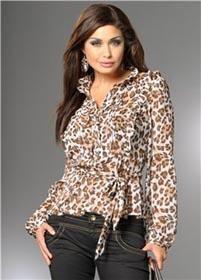 Шифоновая блузка с леопардовым принтом фото