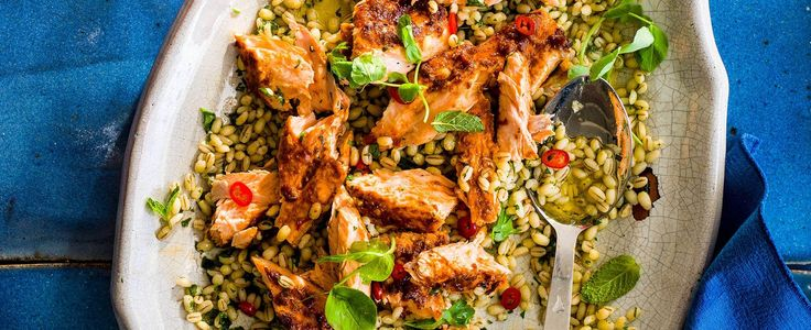 supergrain salmon salad with chilli and mint dressing