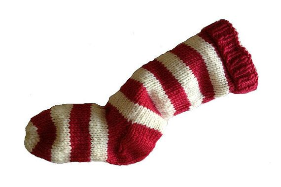 Christmas Stocking Hand Knit Red and Natural by eweandmeyarns, $42.00