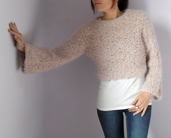 Cropped Turtleneck Hand Knitted Sweater with long by Silvia66, $126.00