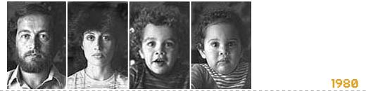 The arrow of time by Diego Goldberg (1976-present). All the members of the family are photographed every year on the same day.