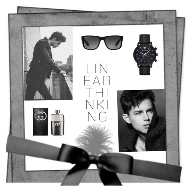 """Black and white"" by almir-camdzic ❤ liked on Polyvore featuring Gucci, Ray-Ban, Emporio Armani, men's fashion and menswear"