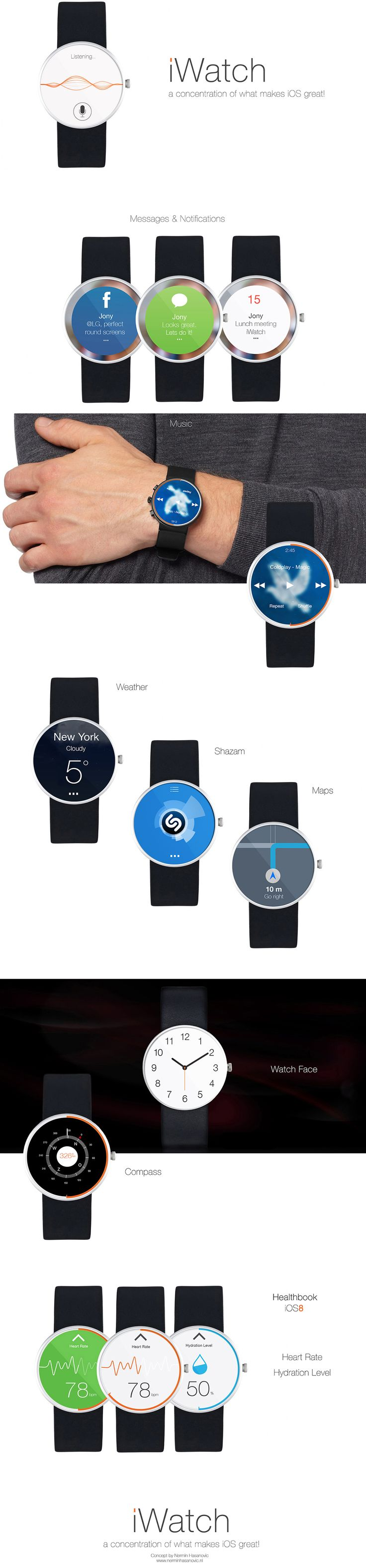 This iWatch concept, the latest in what seems like a daily routine now, comes from Nermin Hasanovic. On top of imagining a companion app for iWatch for the iOS 8 Healthbook app we recently revealed, it also gives us a slick take on Siri, messaging, notifications, and other stock and third-party iOS apps on a round, Android Wear-style display.