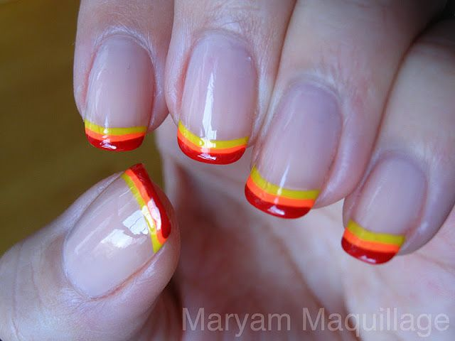 Ring In A Spicy Hot Palette Of Colors That Go With Orange: French Tip Designs On Pinterest