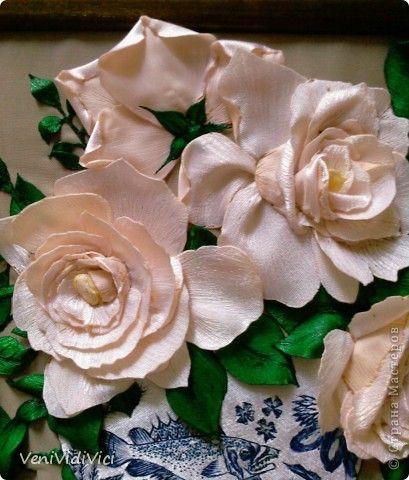 Картина, панно Гильоширование: Выжигание по ткани, Кремово-белые розы Ткань. Фото 5