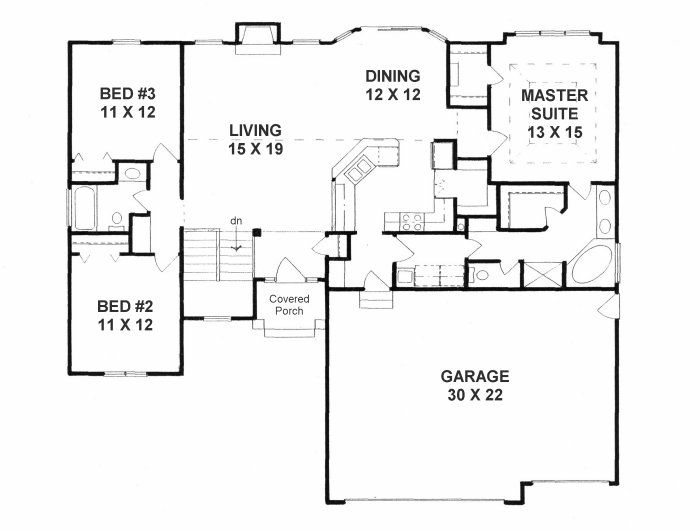 first floor plan of traditional house plan 62646 - Traditional House Plans