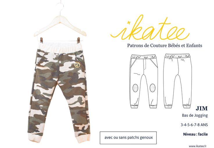 Patron de Couture. Enfant Garçon. Un pantalon de jogging en matièresweat ultra confortable et looké Coupe droite.Taille élastiquée pour un enfilage rapide.