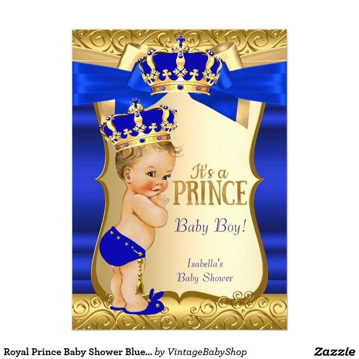 royal prince baby shower blue gold damask blonde card
