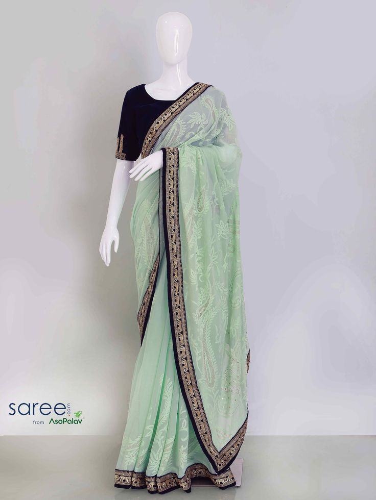 GREEN GEORGETTE SAREE WITH SEQUINS WORK
