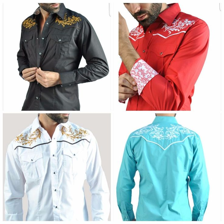 Slim fit fashion shirts for men western style front back embroideries design  #Privatelabel03180 #Fashionembroiderybuttondown