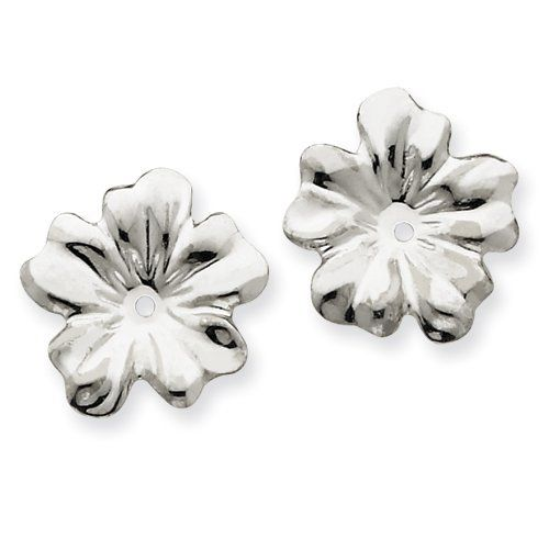 14k White Gold Floral Earring Jackets Real Goldia Designer Perfect Jewelry Gift goldia. $65.99