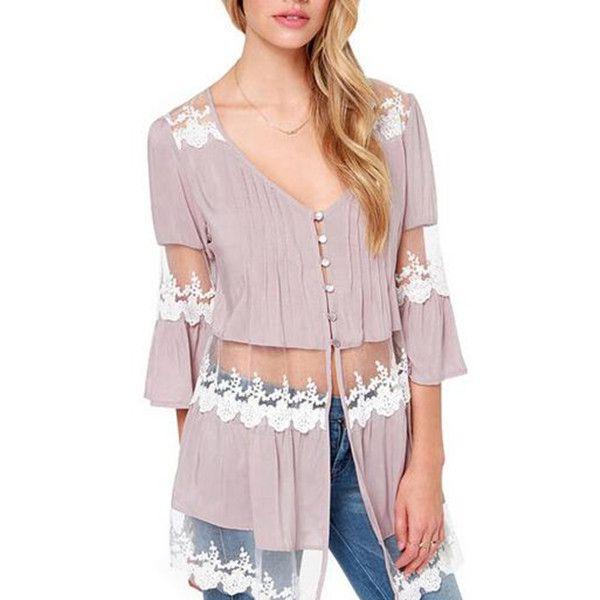 Fashion purple lace splicing chiffon shirt for women deep V neck tops with mesh