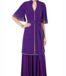 Buy Purple Hand Embroidered Georgette Designer Lehenga with Blouse lehenga-choli online