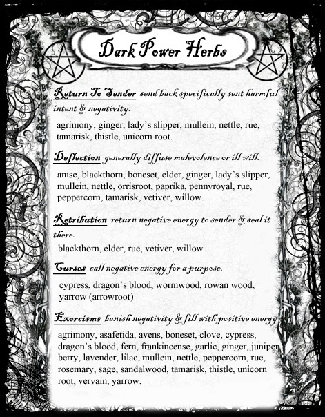Herbs: #BOS Dark Power #Herbs page, by Grimdeva of Cauldron Craft Oddities.