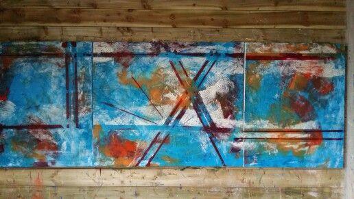 Liz Doyle Qualia triptych  100 x 2 80cm Oil and mixed media on canvas 2015