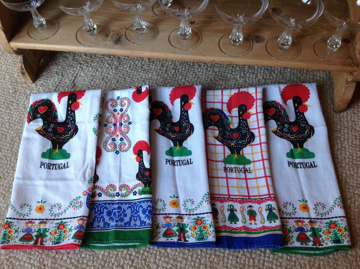 Mid-Century Cotton Dishtowels Portugal Set of 5 Excellent by TheTravelingTwins on Etsy