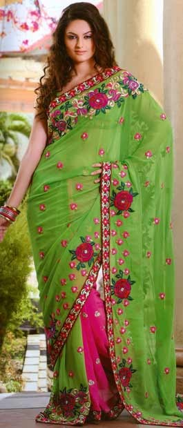 Parrot Green and Deep Pink Bemberge Faux Georgette Saree With Blouse | $140.39