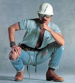 17 August | My 70s party night costume | construction worker from the Village People (yes with the moustache, but not the hairy chest LOL)