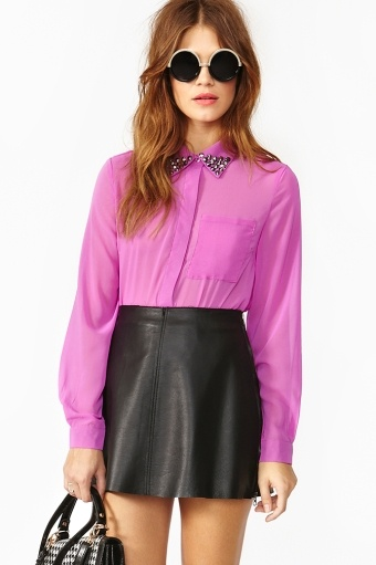 studded blouse w/ leather skirt