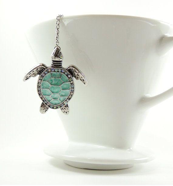Loose Tea Infuser Tea Strainer Mesh Ball Blue Turtle by 9thfloor