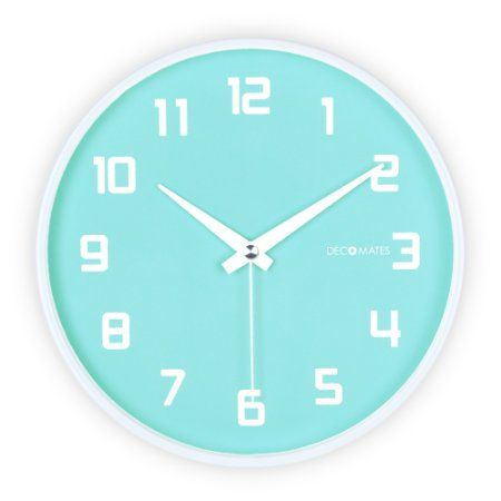 DecoMates Non-Ticking Silent Wall Clock - Fruity Blueberry (Baby Blue)