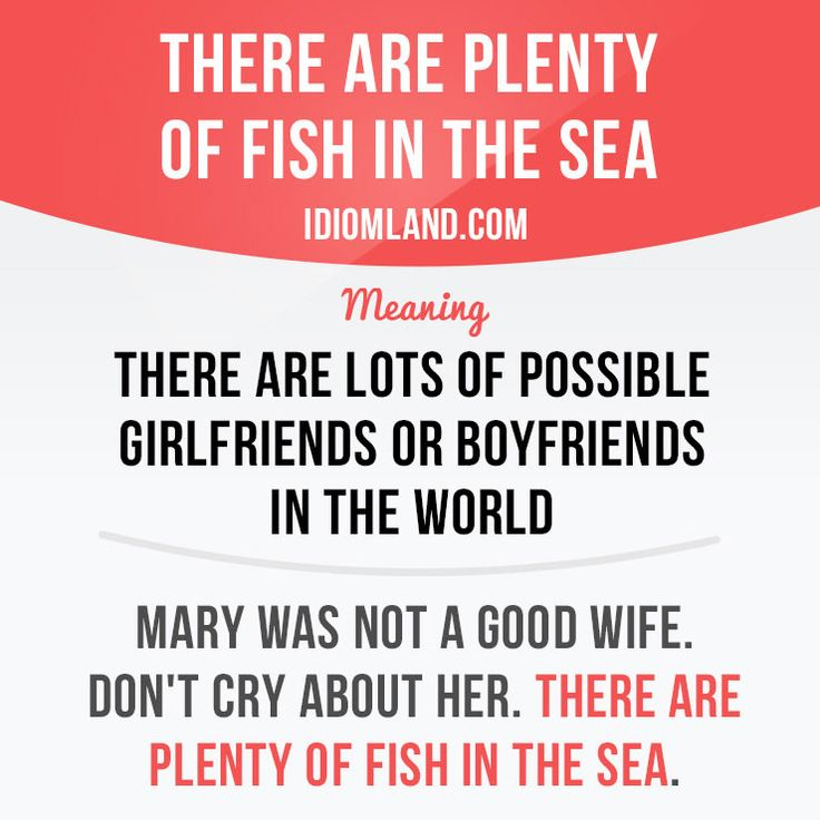 """""""There are plenty of fish in the sea"""" means """"there are lots of possible girlfriends or boyfriends in the world"""". Example: Mary was not a good wife. Don't cry about her. There are plenty of fish in the sea.    Learning English can be fun!  Visit learzing.com #idiom #idioms #saying #sayings #phrase #phrases #expression #expressions #english #englishlanguage #learnenglish #studyenglish #language #vocabulary #dictionary #grammar #efl #esl #tesl #tefl #toefl #ielts #toeic #englishlearning"""