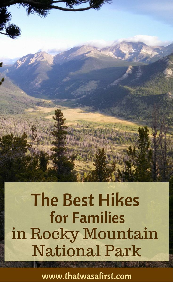 These are the top hikes for families in Rocky Mountain National Park.  You'll hike around lakes, see Alberta Falls, spot some wildlife, and see some amazing views.