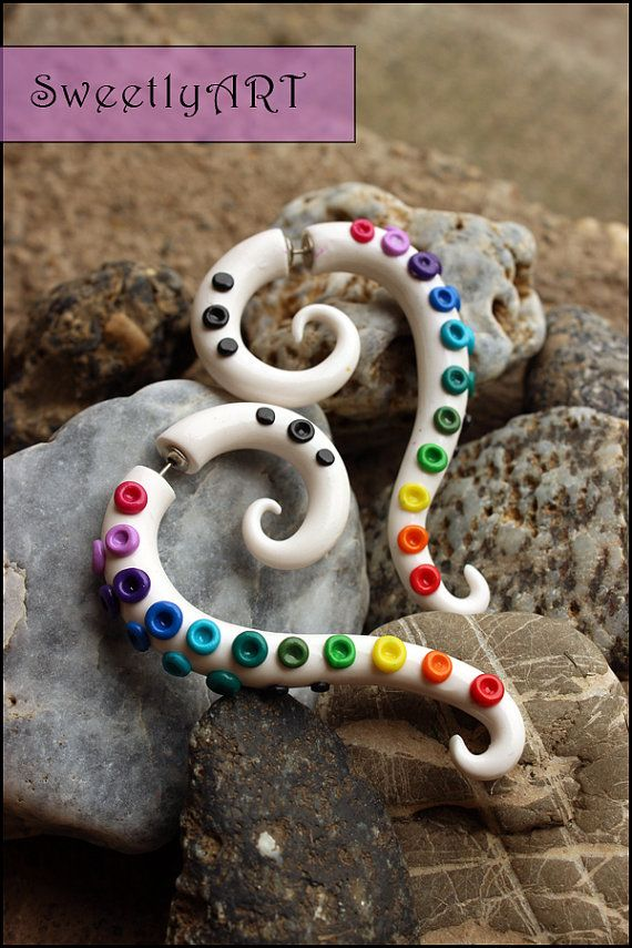 Fake gauge Earrings tribal octopus tentacle white by SweetlyART, $25.00