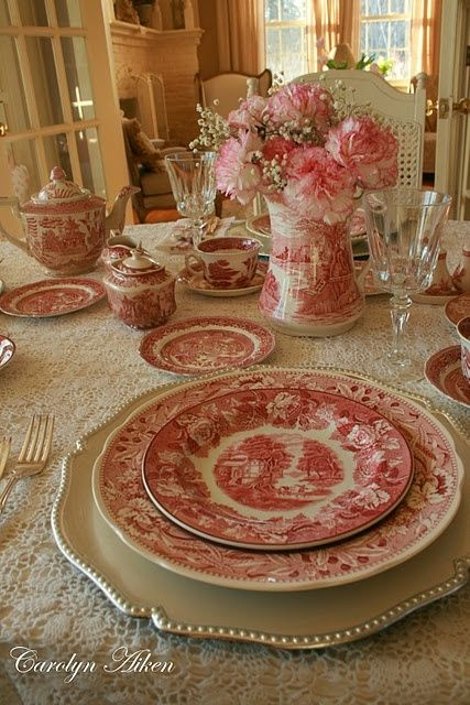 Tablescape with red transferware by vicky